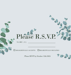wedding rsvp card with eucalyptus leaves rustic vector image