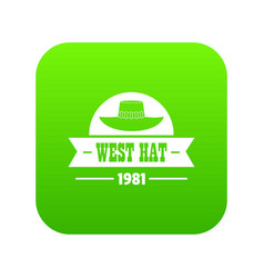 West hat icon green vector