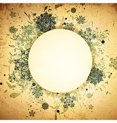 Winter Round Grunge Frame vector