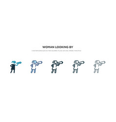 woman looking a spyglass icon in different vector image