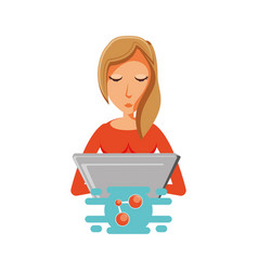 woman with laptop and share symbol vector image