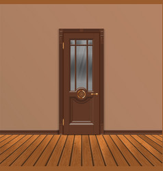 Wooden entrance door vector