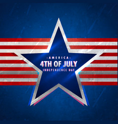 4th of july background with star and red stripes vector