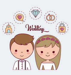 cartoon wedding couple icon vector image