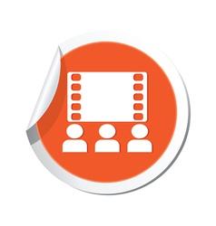 cinema icon orange sticker vector image vector image