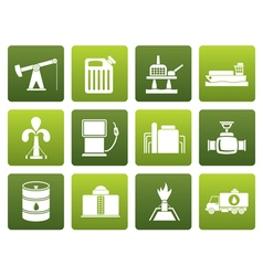 Flat Oil and petrol industry icons vector image vector image
