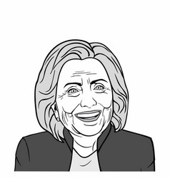 hillary clinton art black and white vector image vector image