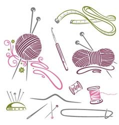Needlework knitting wool crochet vector image