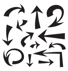 set of hand drawn black arrows on white background vector image