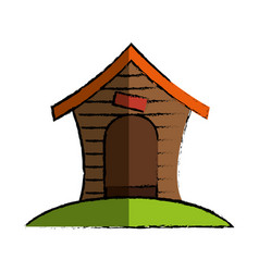 wooden mascot house icon vector image vector image