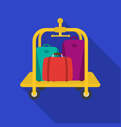 luggage cart icon in flat style isolated on white vector image vector image