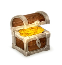 Treasure chest isolated on white background vector image
