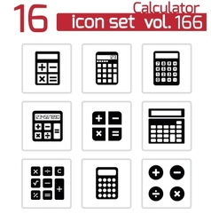 black calculator icons set vector image vector image