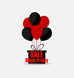 black friday gift box with balls of red and black vector image vector image