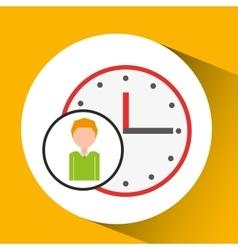 cartoon business man clock time icon vector image