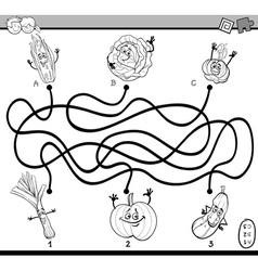 maze game coloring book vector image vector image