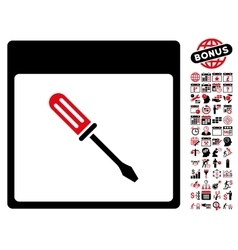 Screwdriver Calendar Page Flat Icon With vector image vector image