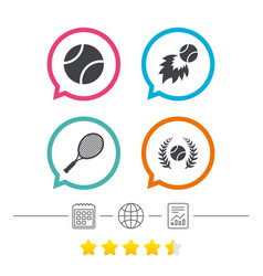 Tennis ball and racket icons laurel wreath vector