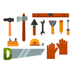 construction tools worker equipment house vector image