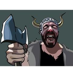 Man with an ax viking heart rending cries vector