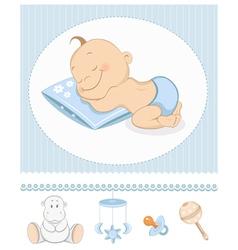 Sleeping boy arrival vector image vector image