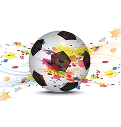 soccer ball and ink splatter background design vector image