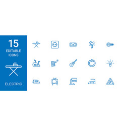 15 electric icons vector
