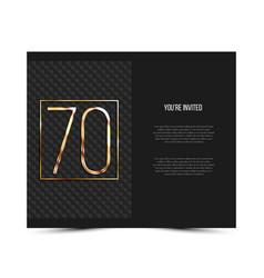 70th anniversary invitation card template vector image