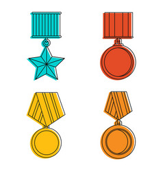 Army medal icon set color outline style vector