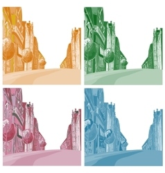 Background the city of different colors vector image