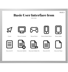 basic ui icons line pack vector image