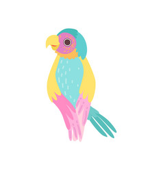 beautiful tropical parrot with iridescent plumage vector image