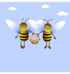 bee-boy and bee-girl vector image