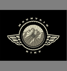Bicycle wheel mountain bike logo t-shirt print vector