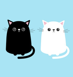Black white cute cat sitting kitten set cartoon vector