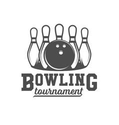 Bowling emblem label badge and designed elements vector