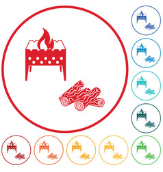 brazier and firewood icon vector image