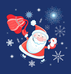 bright postcard new years portrait of santa claus vector image