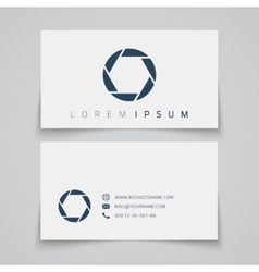 Business card template camera shutter conceptl vector