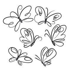 butterflies hand drawn line art set vector image