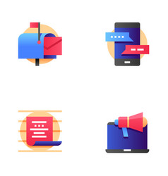 Buzz marketing line icons set vector