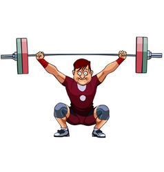 cartoon male athlete crouched with a barbell vector image