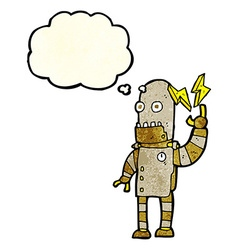 Cartoon old robot with thought bubble vector