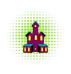 Castle icon in comics style vector image