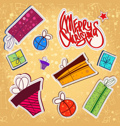 christmas paper stickers set vector image