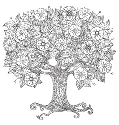 Circle orient floral black and white vector