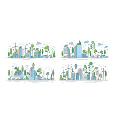 collection cityscapes or urban landscapes with vector image