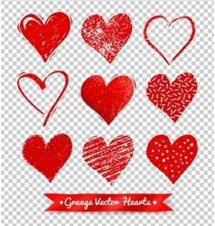 Collections of grunge Valentine hearts vector