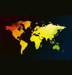colored map of world on dark background vector image