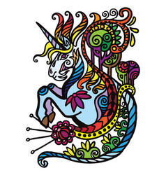 Colorful doodle unicorn vector